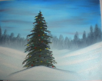 "16"" x 20"" little Christmas tree original landscape oil painting"