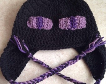 Minecraft inspired crochet hat, Enderman hat, video game hat with ear flap or beanie, minecraft hat, mine craft hat, crochet enderman
