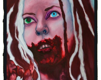 """Original Large Watercolor Painting """"Ginger"""" - Portrait of Katharine Isabelle in Ginger Snaps"""