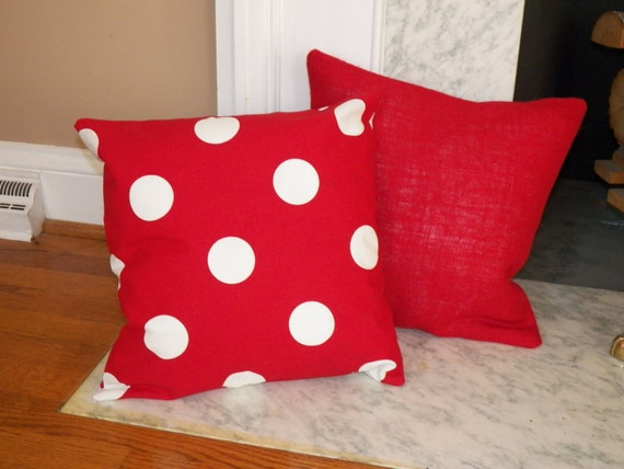 How To Make Removable Throw Pillow Covers With Velcro Closure : Red with White Polka Dot Indoor/Outdoor Pillow Cover with