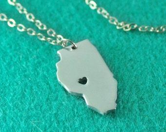 Illinois Pendant,I heart Illinois Necklace,Custom Illinois Necklace, State Map Jewelry, Personalized Silver Pendant ,Map Jewelry