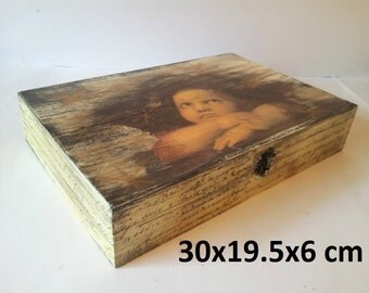 decoupage angel box, vintage style angel box, Angel keepsake box, shabby chic box, decoupage box