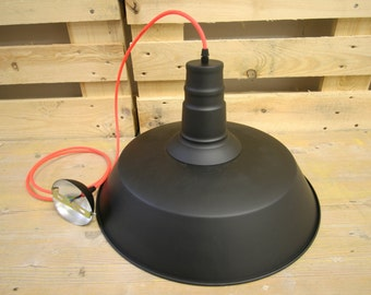 Industrial matte black pendant lamp with neon textile cord