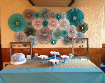 Paper Rosette Backdrop for birthdays, weddings, showers or other events.
