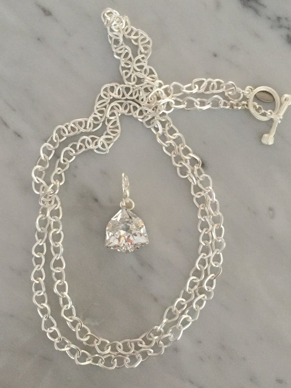 Matte Silver SALE **Swarovski Crystal Necklace, Crystal Pendant and Chain, Silver Chain with Detachable Crystal Pendant