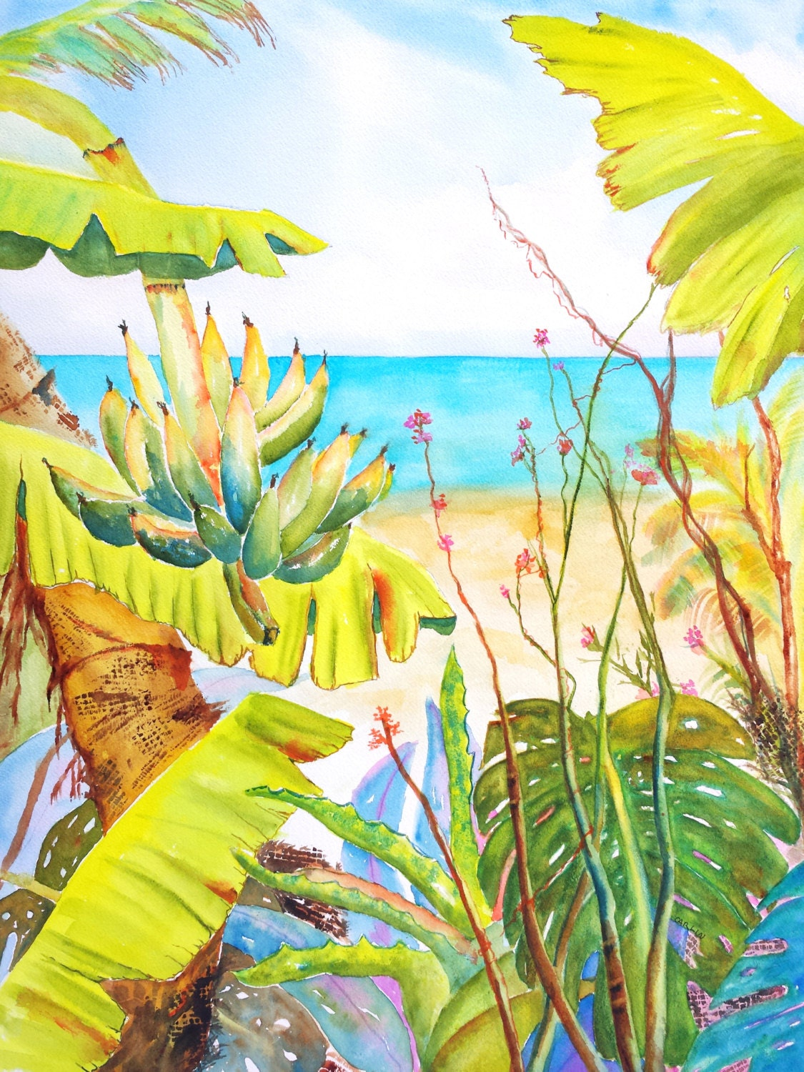 Large Watercolor Painting Tropical Beach Gardenocean