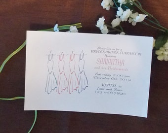 Bridal shower luncheon invitation card with envelope