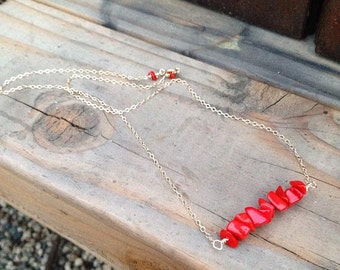 Red Bamboo Coral Chip Bar Necklace