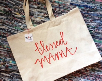 Canvas blessed MAMA tote bag