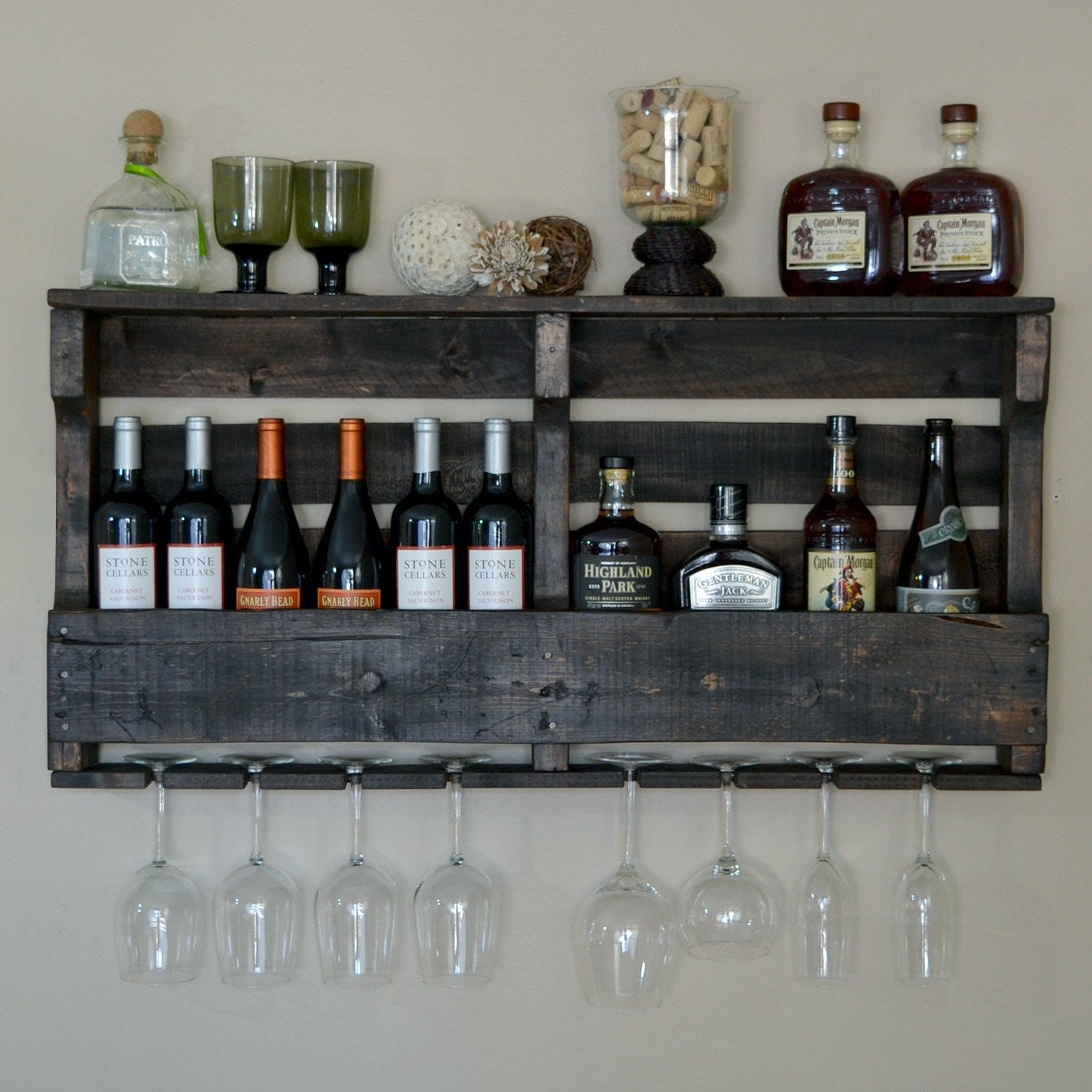 Large pallet wine rack espresso walnut by vinogrotto on etsy for How to make a wine rack out of pallet wood