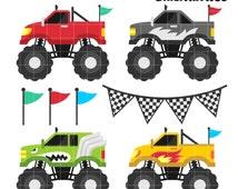 Monster Truck Clip Art,  Four wheel Drive Clipart,  Cool Transport Printable,  Toys for Boys Clip Art, Digital Art,  Clip Art,  Royalty Free