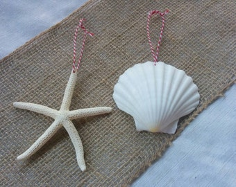 Beach Christmas Ornament, Starfish Ornament, Seashell Ornament, SET OF 2 Beach Ornaments