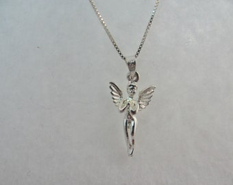 "All Solid 925 Sterling Angel Guardian Pendant Necklace High Polish Solid 925 Sterling Silver 18"" Italian Made Solid Sterling Chain"