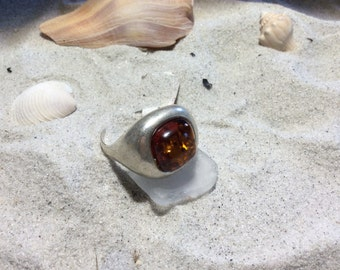Smooth Sterling Silver Baltic Amber Ring Size 8.5
