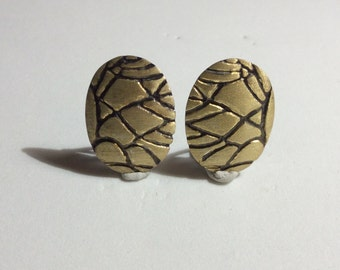 Gold Color Stone Pattern Sterling Silver Earrings