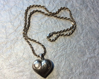 Heart with Etched Design Antiqued Sterling Silver Pendant with Chain