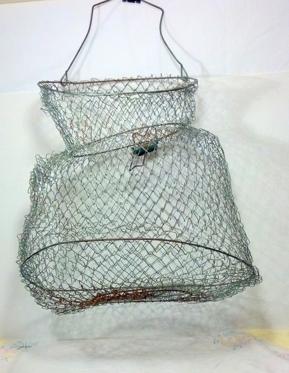 Rustic old wire fish basket wire mesh by blindedbydelight for Fish wire basket