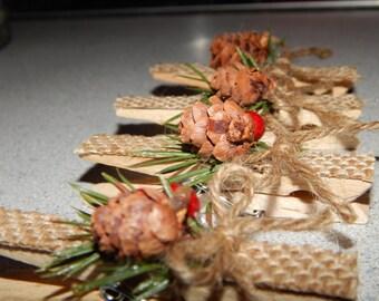 Rustic Christmas Ornaments - Rustic Christmas Magnets - Rustic Christmas Decor - Country Christmas Decor - Burlap Decor - Stocking Stuffers