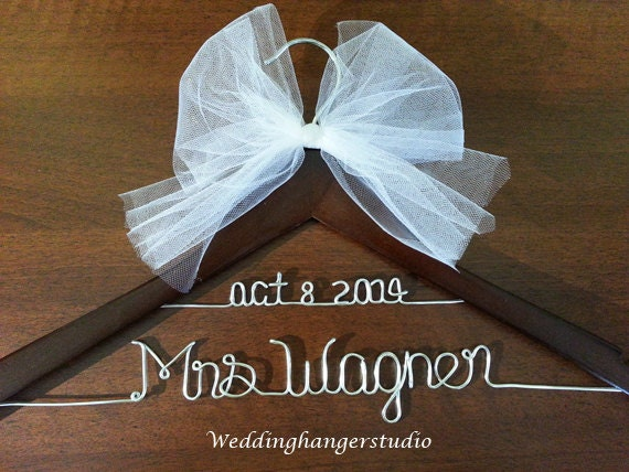 Wedding dress hanger with date 2 line name hanger bride for Wedding dress hanger name