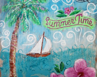 Summertime print of Painting with Sailboat in the ocean, hibiscus flower, palm tree and swirls by Jan Marvin