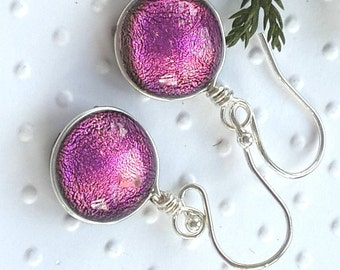 Sterling Silver Jewellery - Fused Glass Jewelry -Pink  Dichroic Glass Earrings - Glass Drop Earrings - Glass Dangle Earrings- Glass Jewelry.