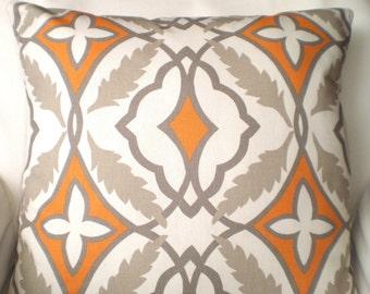 Orange Gray Tan Decorative Throw Pillow Covers, Cushions, Couch Pillows Cinnamon Eden Cushions Euro Sham, Throw Pillow One or More All Sizes