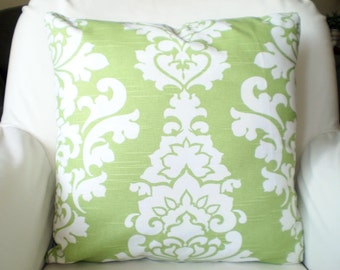 Green Decorative Throw Pillow Covers, Cushion Covers, Kiwi Green Damask Pillows, Couch Pillows, Berlin, Throw Pillow, One or More All Sizes