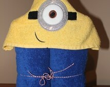 One Eyed Yellow Monster Minion Child's Hooded Towel