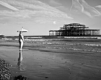 Seascape photography, beach photography, beach decor, sea side decor, beach wall art, beach art, home decor, beach photo, Brighton print