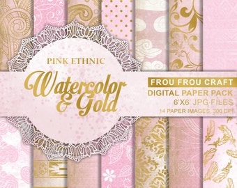 Pink Gold Digital Paper Pack Instant Download Watercolor Ethnic Tribal Aztec Flowers Floral Damask Background Pattern Texture 6x6 inches