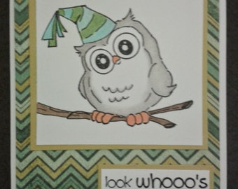 "Handmade Whoots  Party Owl birthday greeting card ""Look whooo's having a b-day"""