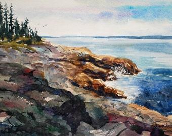 Maine watercolor painting, On The Rocks, Original Handmade Painting, New England, coastal scene