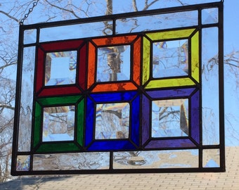 Stained Glass Window Panel - Rainbow Bevels