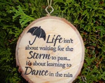 Dance In The Rain Wood Slice Ornament