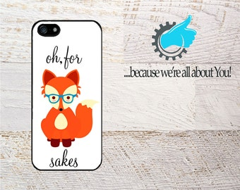 iPhone Case- For Fox Sakes design-  Personalized Hipster Fox For iPhone 4/4s 5/5s 5c 6/6+ 6s/6s+  7 SE- Can change background color