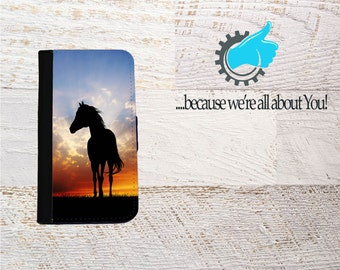 iPhone Horse Wallet Case for iPhone SE 5 6 7 8 X and Plus Photo iPhone case, Custom iPhone case Can add initials Name or Own Photo