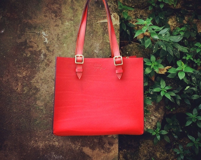 Rigid Design by George • • red leather handbag