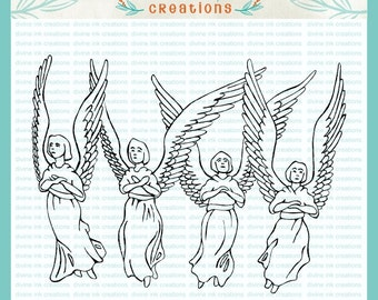 Four Angels Hand Drawn Christian Digital Stamp Illustration