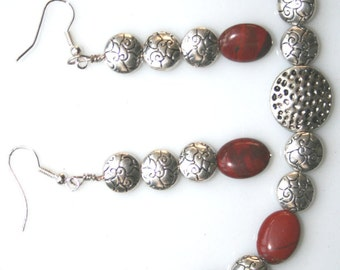 Brick Red Jasper and Pitted Silver Bracelet and Earring Set