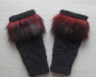 Women hand knitted black fingerless gloves with faux fur trim