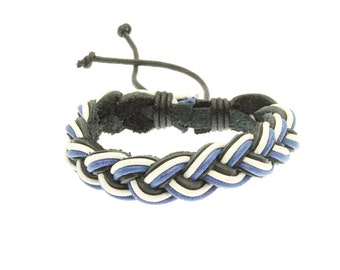 Plaited Leather Strap Bracelet In Blue, White And Black - 243