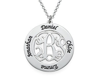 Monogrammed Family Necklace-Monogram Mother's Necklace-Mother's Day Gift