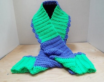 Crochet Scarf, Handmade Green and Purple Crochet Scarf with Shell Border, Glowworm and Iris Winter Scarf