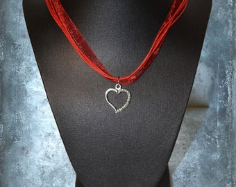 Necklace Pendant Organza Heart Rose Valentine Love St-Valentin Passion Red Pink