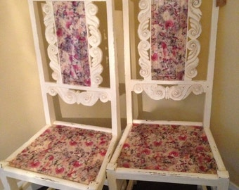 Antique hand painted decoupage  dinning chairs