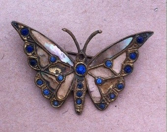 Vintage Brass butterfly brooch antique retro 1920s