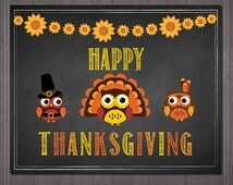 Happy Thanksgiving Sign Chalkboard Owls - Printable Thanksgiving Sign