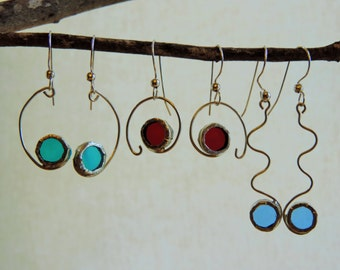 Colorful glass and silver earrings, unique designs of earrings, light earrings, stained glass