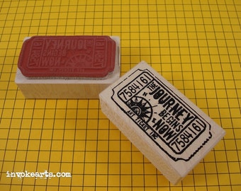 Journey Ticket Stamp / Invoke Arts Collage Rubber Stamps