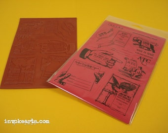 ATC Made By Frames / Invoke Arts Collage Rubber Stamps / Unmounted Stamp Set